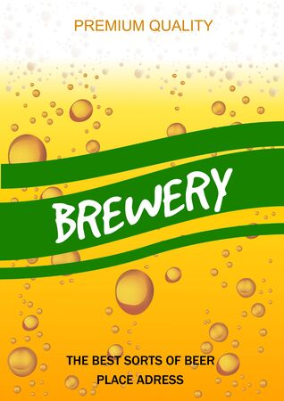 Flyer with Beer Drops for Brewery, Beer Party,Invitation,Poster,Business Card. Vector Illustration