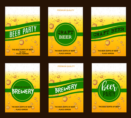 beer card: Flyer Set with Beer Drops for Brewery, Craft Beer, Beer Party,Invitation,Poster,Business Card. Vector Illustration