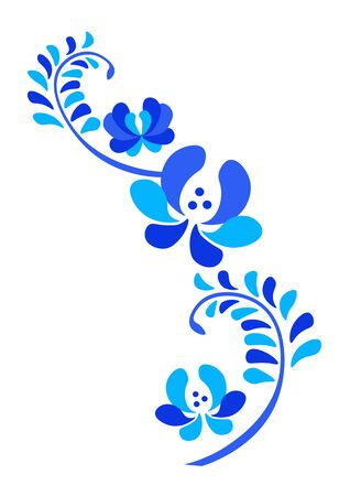 Old traditional gzel ornament. Decorative floral blue Illustration Illustration