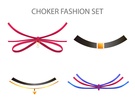 choker: Realistic Modern Necklace - Choker. Vector Set. Illustration