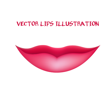 lips close up: Smiling Lips. Womans Mouth. Vector Illustration Illustration