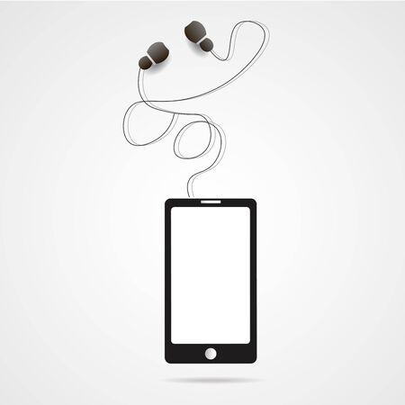 devise: realistic vector smartphone and headphones illustration Illustration