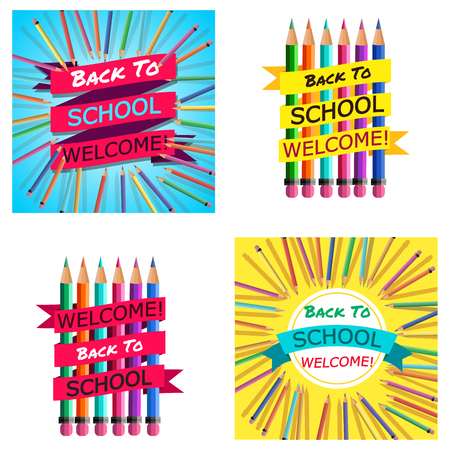 Back To School Cards. Background with Colorful Pencils with Header. Welcome. Poster,Banner ,Brochure Template.Vector Illustration.