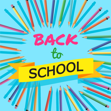 school years: Back To School. Background with Colorful Pencils with Header. Welcome. Poster,Banner ,Brochure Template.Vector Illustration.
