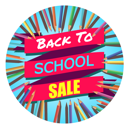 Back To School Sale. Background with Colorful Pencils with Header. Welcome. Poster,Banner ,Brochure Template.Vector Illustration.