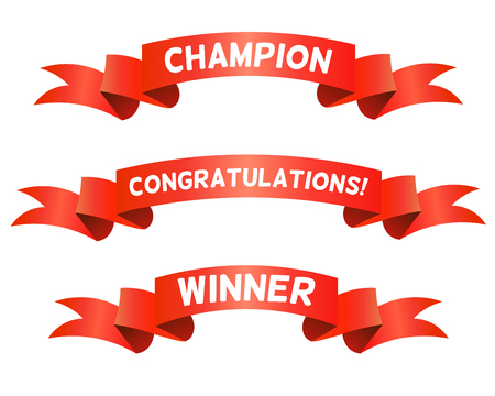 congratulations: Rojo Trohpy cintas para los ganadores. Champion <Felicidades, Títulos ganador. Aislado en el fondo blanco