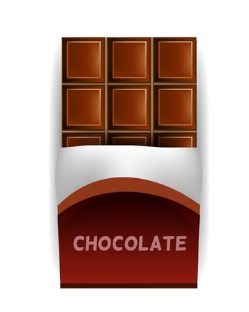 Vector de la barra de chocolate en la envoltura