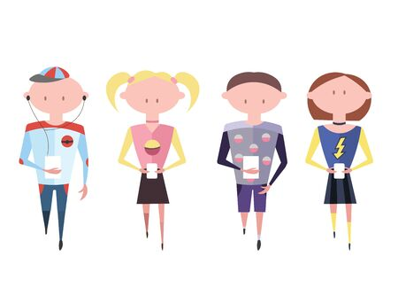 gadgets: Young People with Gadgets Illustration