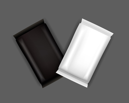 crackers: Vector White and Black Blank Food Packaging For Biscuit, Wafer, Crackers, Sweets, Chocolate Bar, Candy Bar, Snacks . Design Template. Isolated On White Background.