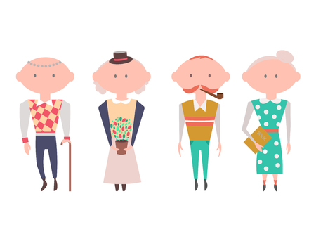 old people: Old People Characters. Vector Illustration