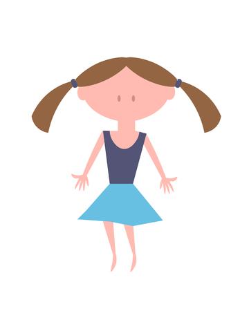 Little Girl Vector. Kid Illustration