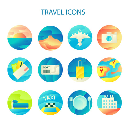 plate camera: Travel Icons Colorful Flat Set for Web and Mobile Applications Illustration