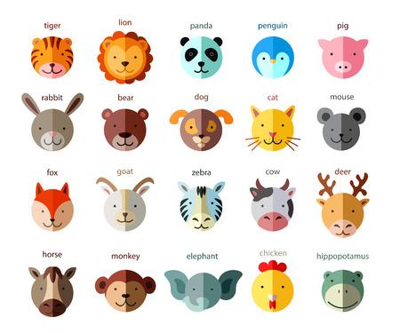 animal head: Line Animal Head Icon Set. Vector Illustration.