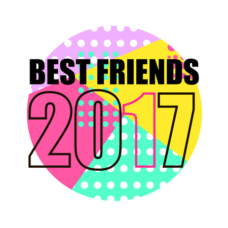 Best Friends Poster. Abstract memphis Geometric Style