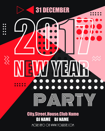 clubbing: 2017 new year modern clubbing party fllyer. Geometric memphis style with shapes. Illustration