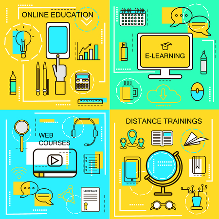 web courses: E-learning,Online Ecucation, Web Courses and Distance trainings concept.Thin Line icons.  Illustration. Banners for web ,network, site, social media.