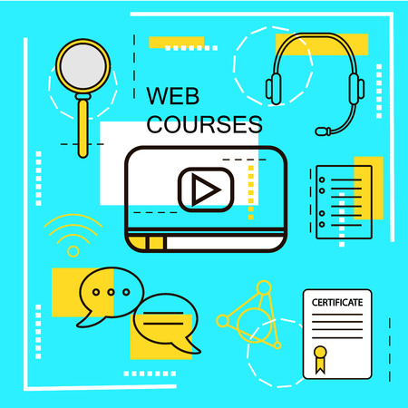 web courses: Web Courses banner concept. Online Education. Thin Line icons. Illustration.For web banners and promotional materials.