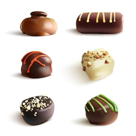 Chocolate Candies. Realistic Illustration. Isolated on White Illustration