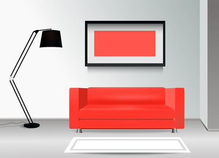 carpet floor: Realistic red sofa with floor lamp, carpet and photoframe on the wall. Interior illustration.Furniture Design Concept. Illustration