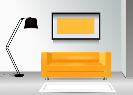 carpet floor: Realistic yellow sofa with floor lamp, carpet and photoframe on the wall. Interior illustration.Furniture Design Concept.