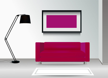 carpet floor: Realistic purple sofa with floor lamp, carpet and photoframe on the wall. Interior illustration.Furniture Design Concept.
