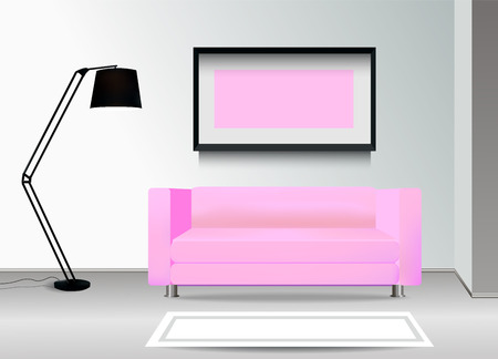 photoframe: Realistic pink sofa with floor lamp, carpet and photoframe on the wall. Interior illustration.Furniture Design Concept.