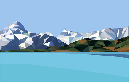 Horizontal polygon landscape.snow mountains and lake. Illustration