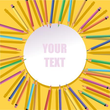 color pencils. school background. Illustration
