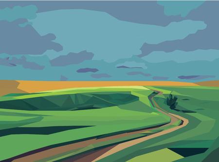 green field: green field and road landscape