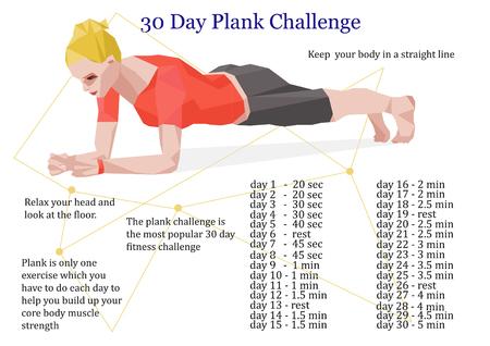 days: 30 days plank challenge infographic