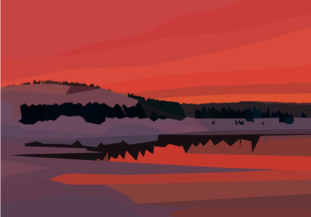 spruse: polygon landscape. lake, mountains and trees in red colors Illustration