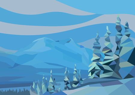 spruse: polygon landscape. vector illustration. snow mountains and trees