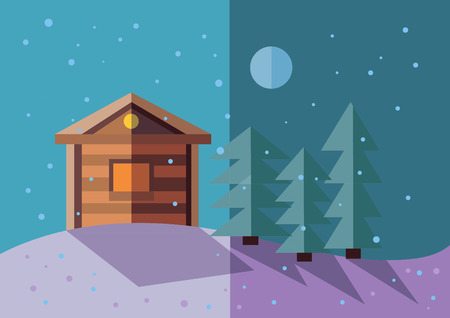 paysage: winter landscape. flat illustration Illustration