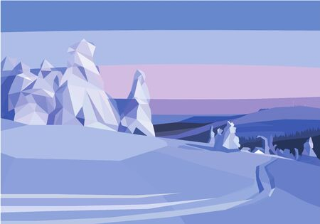 Winter landscape. snow trees and field. polygon Illustration