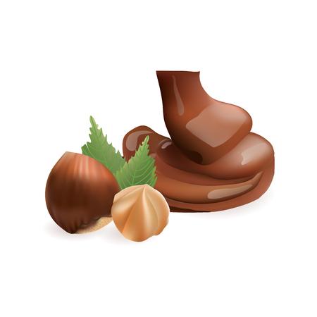 Hazelnut with liquid chocolate Illustration