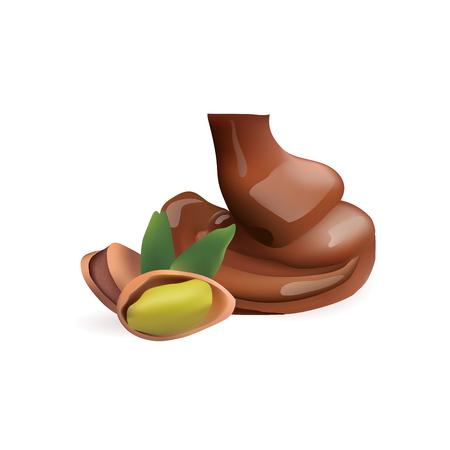 pistachio with liquid chocolate