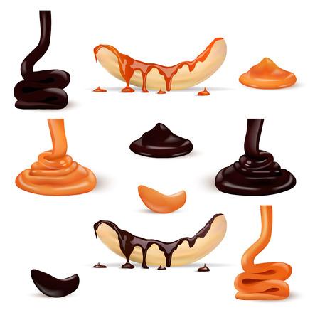 Liquid Caramel and Chocolate with Banana Illustration