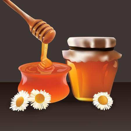 Honey,Jar and Stick