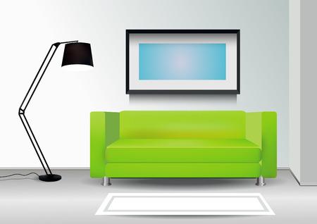 green sofa: 3d Interior with green sofa