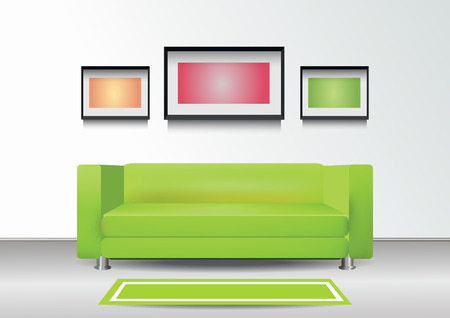 green sofa: Interior with green sofa