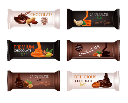 Chocolate Bar with Nuts Isolated on white. Vector illustration