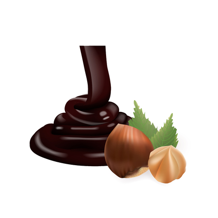 chocolate mousse: Hazelnut with liquid Chocolate. 3d vector illustration isolated