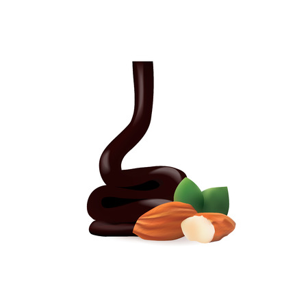 chocolate mousse: Liquid Chocolate with almond isolated vector illustration