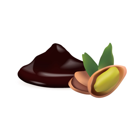 chocolate mousse: pistachio with liquid chocolate isolated vector illustration Illustration