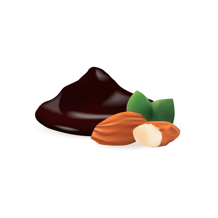 Liquid Chocolate with almond isolated vector illustration