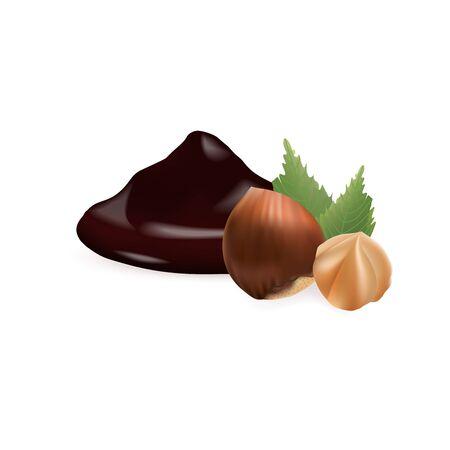 Hazelnut with liquid Chocolate. 3d vector illustration isolated