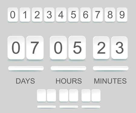 Countdown timer template. Counter design for website with numbers. Vector illustration Stock Illustratie