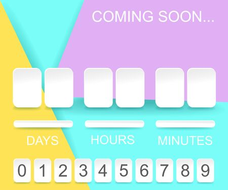 Countdown timer template. Counter design for website with numbers.