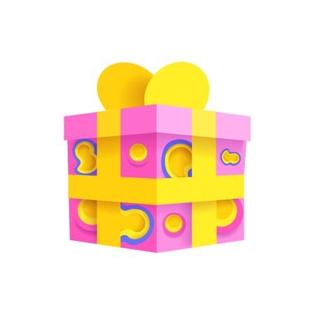 Art papercut Vektorillustration der Geschenkbox 3d Standard-Bild - 96800749