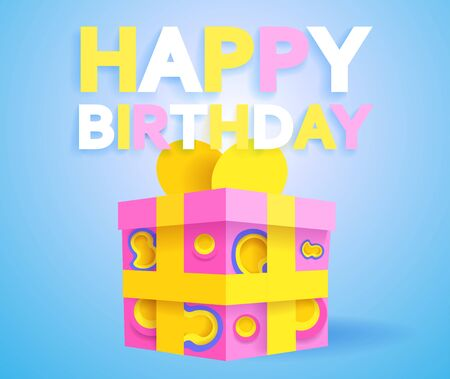 Happy Birthday Greeting Card Or Poster Papercut Modern Style